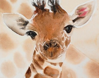 Baby Giraffe Painting, Baby room decor, baby wall art,  Nursery wall art, decor, Animal art, PRINT  watercolor painting, FREE Shipping