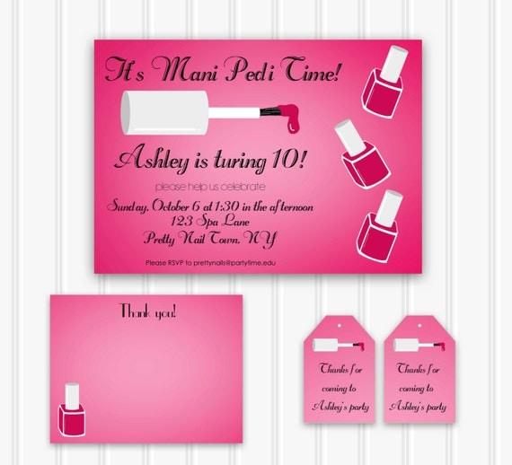custom manicure party invitation manipedi party set instant