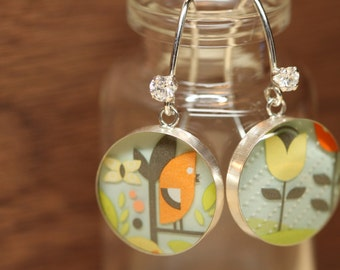 Starbucks Bird and Flower earrings with sterling silver, resin and cubic zirconia. Made from recycled, upcycled  gift cards.