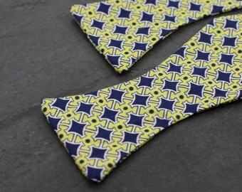 Handmade bow tie yellow blue self tie freestyle classic pattern colorful cotton bowtie
