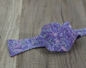 Handmade bow tie purple floral self tie freestyle colorful cotton bowtie