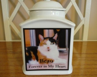 """Pet  Urn, Memorial, """"Personalized"""", Cat, Dog, Photo Urn, Add photo or poem, Name, Dates"""