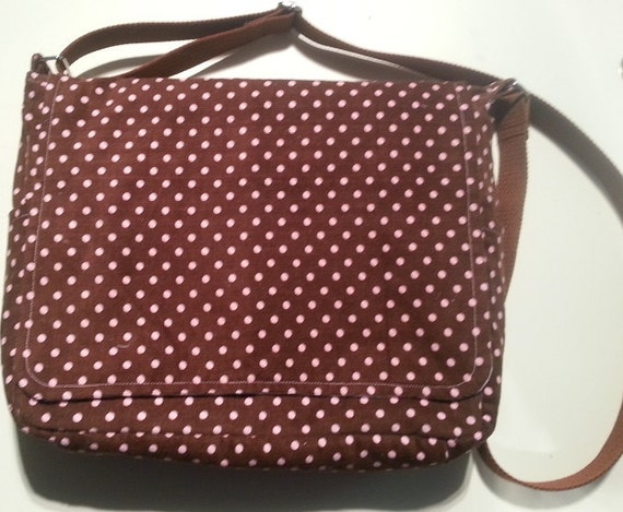Handmade corduroy brown and pink messenger bag