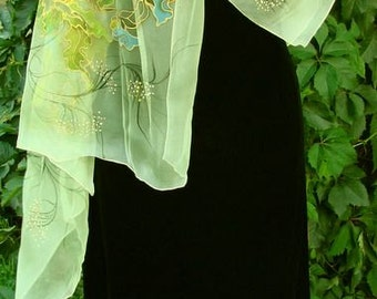 Natural silk shawl - floral, pansy, light green hand painted scarf