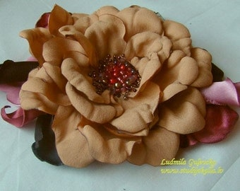 Handmade sandybrown satin flower brooch, flower clip & pin