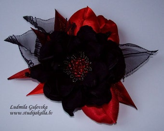 Handmade black-red satin flower brooch, flower clip & pin, embroidered flower