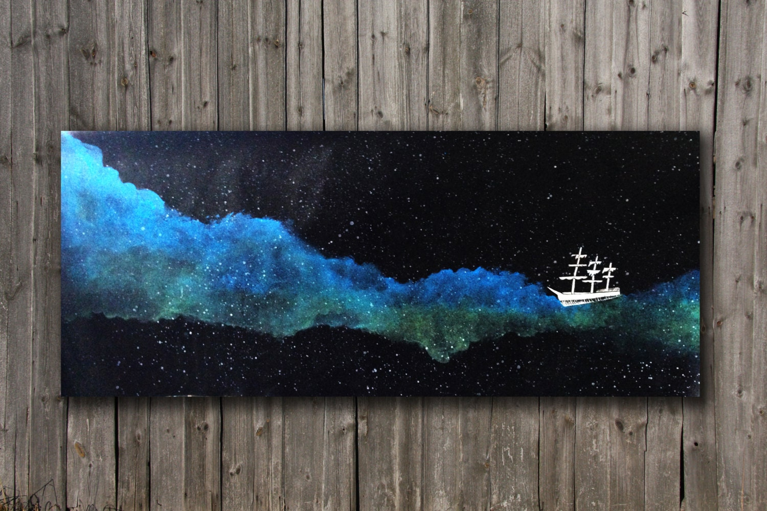 Somewhere beyond the sea original acrylic galaxy painting on for How to paint galaxy