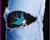 Easily patch your jeans from the inside with this vintage swallow tattoo (horizontal)
