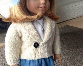 American Girl doll casual jacket pdf knitting pattern