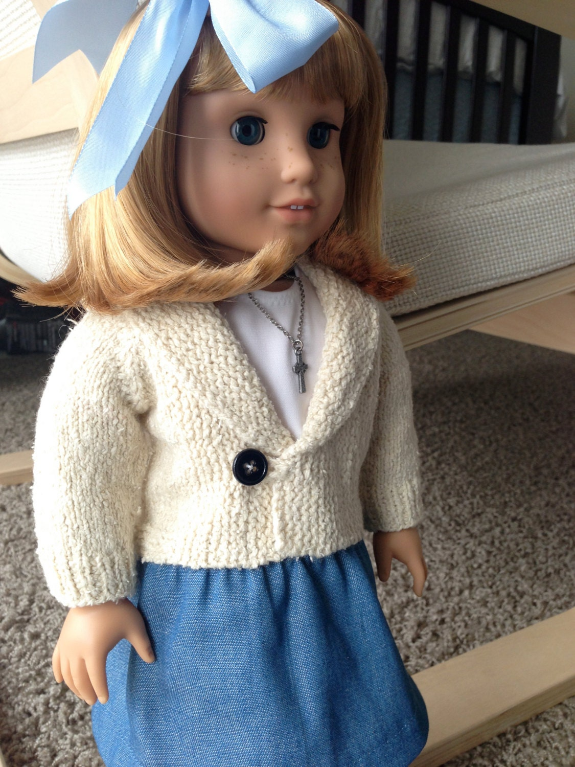 Doll Jacket Knitting Pattern : American Girl doll casual jacket pdf knitting pattern