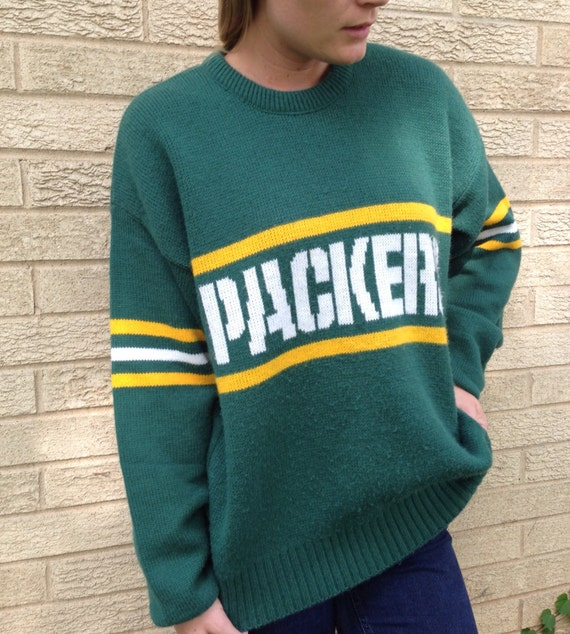 Vintage packers sweater aztec sweater dress for Green bay packers retro shirt