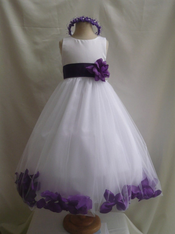 flower girl dresses white with purple rose by nollacollection