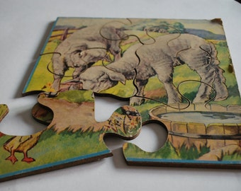 Vintage 1950s Wooden Jigsaw Puzzle. 6 pieces.  Lambs and a duckling. Mid Century Easter, Child's Room or Nursery decor.