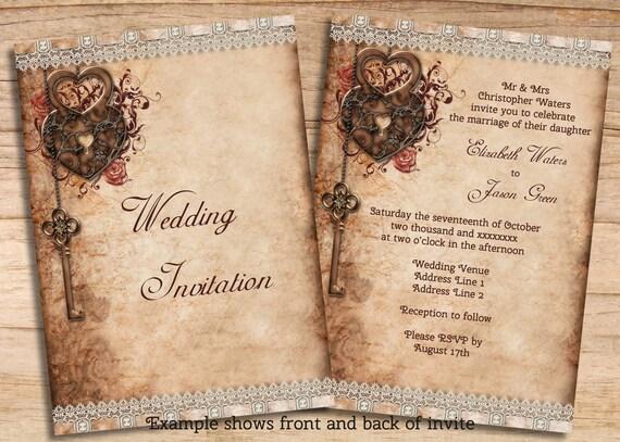 Key Themed Wedding Invitations: Wedding & RSVP Romantic Key And Hearts Lock By