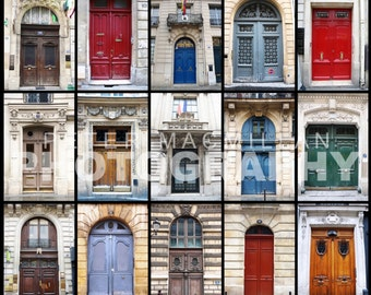 Beautiful French Doorways - Paris Streets - France - Montage Print