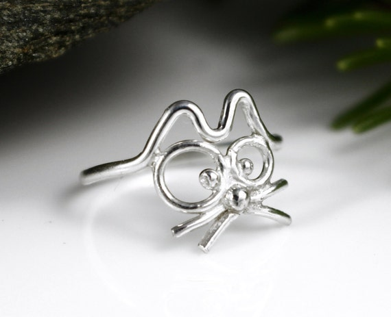 cutest cat ring cat ring sterling silver ring