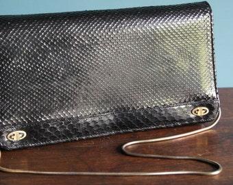 REAL PYTHON LEATHER vintage black coloured clutch