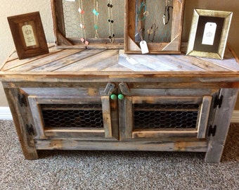 Barn wood style TV stand, reclaimed wood & chicken wire RestorationCrown Restoration Crown
