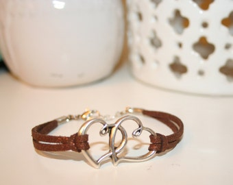 Hearts Joined Leather bracelet - 7""