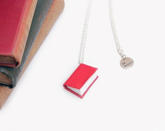 Bright Red Leather Book Necklace -OOAK Handcrafted/ Upcycled -Leather Bound Miniature