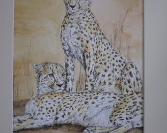 "A beautiful original watercolour and ink painting. 'Friends"" - cheetahs"