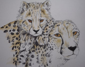 An Original Watercolour and ink - Cheetahs -'Mothers Love'