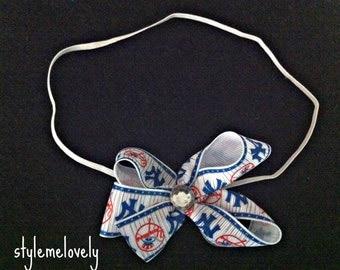 New York Yankees Baby Girl Bow Elastic Headband