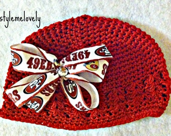 San Francisco 49ers Baby Girl Boutique Bow Red Crocheted Hat