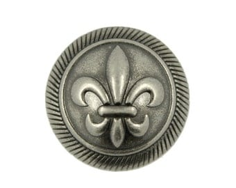 Metal Buttons - Nickel Silver Embossed Fleur-De-Lis Metal Shank Domed Buttons - 17mm - 11/16 inch - 6 pcs