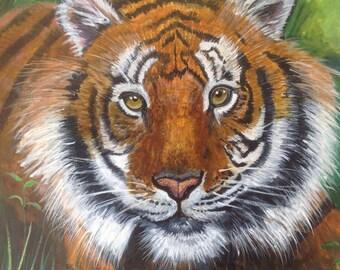 Tiger - original acrylic painting box canvas 50 x 50cm