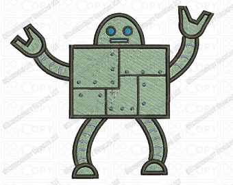 Robot Embroidery Design in 3x3 4x4 and 5x7 Sizes