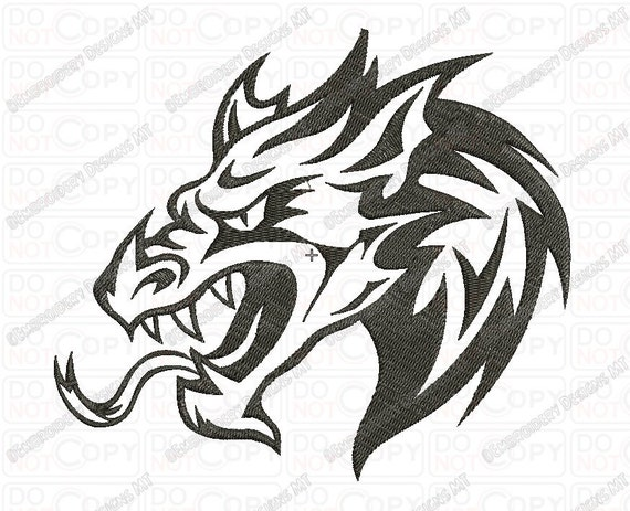 Chinese dragon head tattoo style embroidery design in 3x3 4x4 for 3x3 tattoo ideas