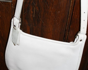 Coach Crossbody Purse, White, Leather,
