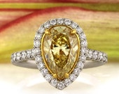 3.65ct Fancy Intense Yellow Pear Shaped Diamond Engagement Anniversary Ring
