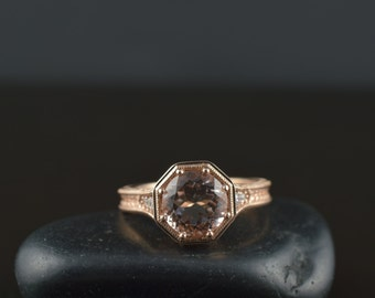Michelle - Morganite Engagement Ring in Rose Gold, 8-Prong Round Brilliant Cut Center, Diamond Accents, Filigree and Milgrain, Free Shipping