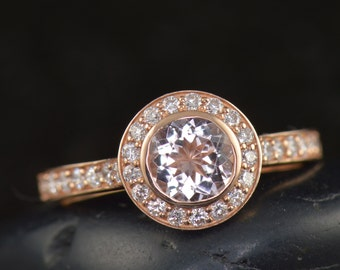Elizabeth - Morganite and Diamond Engagement Ring in Rose Gold, Bezel Set Round Brilliant Cut in Round Halo, Bead Setting, Free Shipping