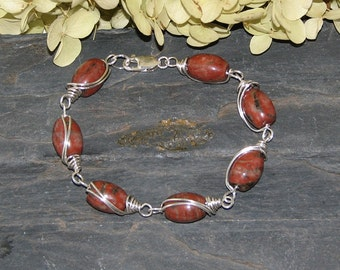 Red Sesame Jasper Sterling Silver Wire Wrapped Bracelet