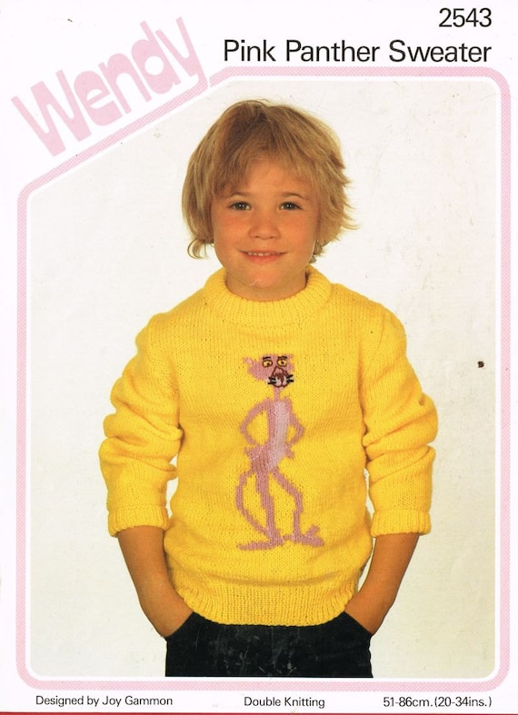 Wendy 2543 child pink panther picture jumper vintage knitting