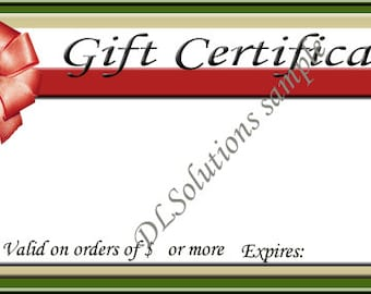 Red Bow Gift Certificate Personalized For Your Needs