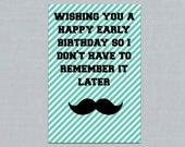 Items similar to funny mustache birthday card printable early funny mustache birthday card printable early birthday card 4 x 6 instant download bookmarktalkfo Gallery
