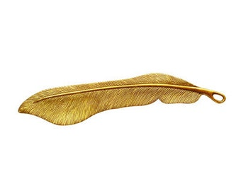 2 pcs - 115mm Long Feather Antique Gold Finish Lead Free Pewters