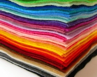 "Wool blend felt squares 9"" x 9"" - high quality - Crafting, Jewellery, children craft"
