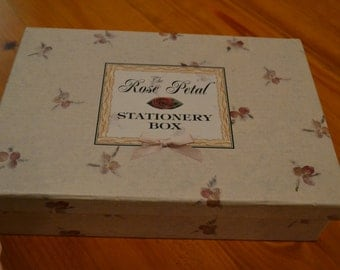 """Fully Intact """"The Rose Petal"""" Stationery Box With Envelopes and Cards"""