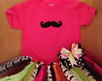 Neon Mustache Scrap Fabric Tutu Outfit
