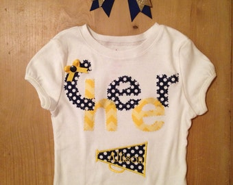 Team Spirit Cheerleading Shirt With Megaphone and Matching Hair Bow