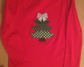 Red Christmas Tree Shirt or Baby Bodysuit