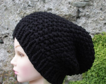 Black Hat- Knitted Womens Hat slouchy beanie hat- winter cap- chunky hat- warm beanie hat- Oceanshell- Womens Accessories