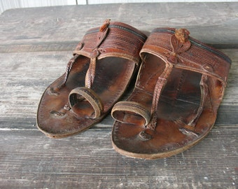 Vintage Handmade Leather Chappal Sandals from India