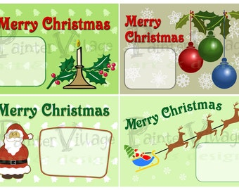 New Year and Christmas Greeting Card - Digital Christmas Card - DIY Christmas Card -Vintage Retro Christmas Cards  Set of 4