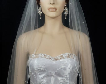 1T White or Ivory Rhinestone Scatered Pencil Edge Veil